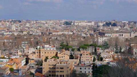 Panorama of Rome. View from Gianikolo. Rome, Italy Live Action