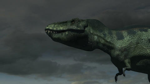 Tyrannosaurus Rex Roars (Cloudy Sky) Animation