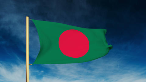 Bangladesh flag slider style. Waving in the wind with cloud background animation Animation