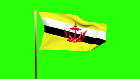 Brunei flag with cloud waving in the wind. Green screen, alpha matte. Loopable a Animation