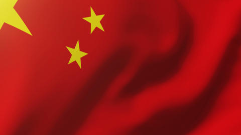 China flag waving in the wind. Looping sun rises style. Animation loop Animation