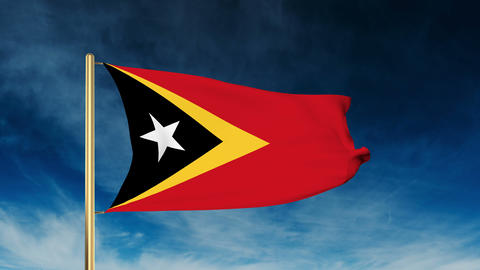East Timor flag slider style. Waving in the wind with cloud background animation Animation