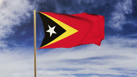 East Timor flag with cloud waving in the wind. Green screen, alpha matte. Loopab Animation