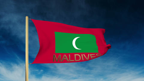 Maldives flag slider style with title. Waving in the wind with cloud background  Animation