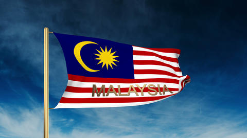 Malaysia flag slider style with title. Waving in the wind with cloud background  Animation