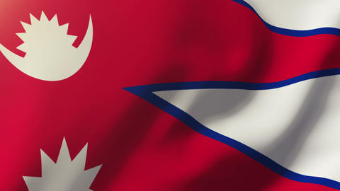Nepal flag waving in the wind. Looping sun rises style. Animation loop Animation