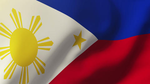 Philippines flag waving in the wind. Looping sun rises style. Animation loop Animation