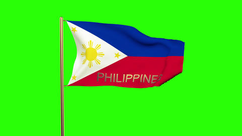 Philippines flag with title waving in the wind. Looping sun rises style. Animati Animation