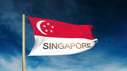 Singapore flag slider style with title. Waving in the wind with cloud background Animation