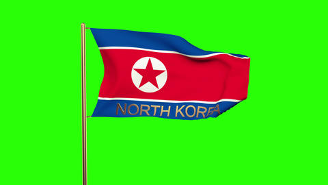 North Korea flag with title waving in the wind. Looping sun rises style. Animati Animation
