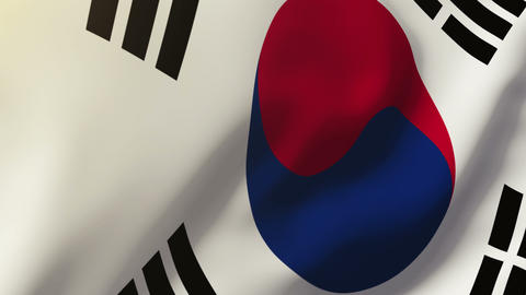 South Korea flag waving in the wind. Looping sun rises style. Animation loop Animation