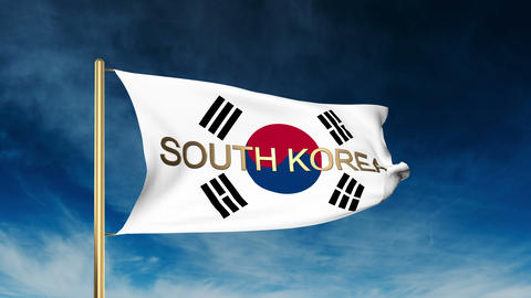 South Korea flag slider style with title. Waving in the wind with cloud backgrou Animation