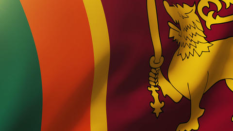 Sri Lanka flag waving in the wind. Looping sun rises style. Animation loop Footage