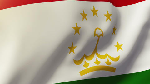 Tajikistan flag waving in the wind. Looping sun rises style. Animation loop Footage