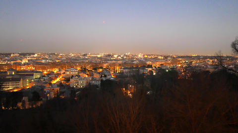 Night panorama of Rome. Italy Live Action