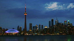 Beautiful Toronto Skyline During Dusk Hour stock footage