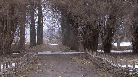 Alley. Snow-Fall. Picturesque Landscape Camera stock footage