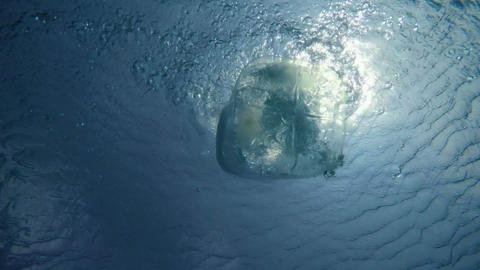 Big Plastic Bottle Thrown into a Quiet Pool of Clear and Fresh Water Footage
