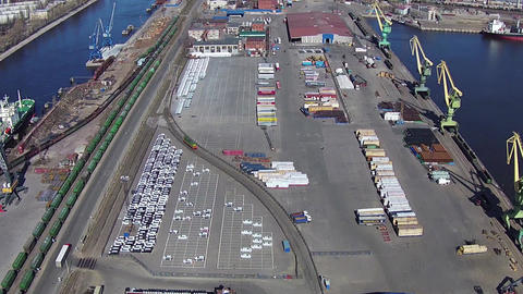 Aerial View to Saint-Petersburg Commercial Sea Port Footage