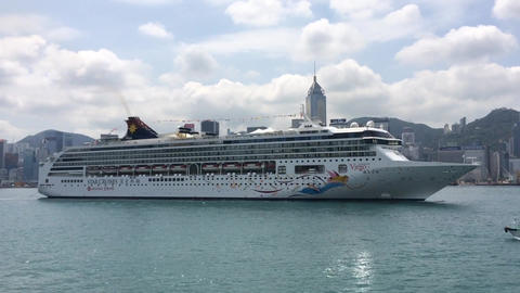 CRUISE SHIP SAILING IN VICTORIA HARBOUR HONG KONG Footage