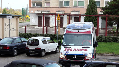 Polish Ambulance Reverse stock footage
