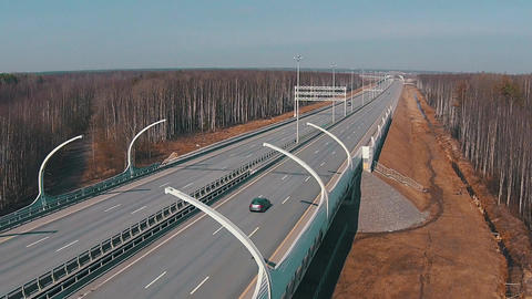 Flying Above Highway with Traffic Cars Footage