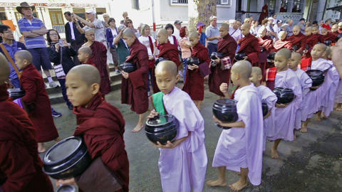 Buddhist monk procession for lunch Footage