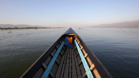 Wooden boat on Inle Lake Footage