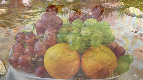 Delicious fresh fruit, shot through the clear flowing water Live Action