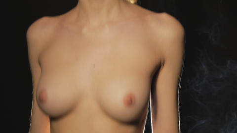 Young Girl With Naked Breast stock footage