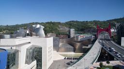 4k Guggenheim Museuem Art Gallery Bilbao Spain Basque stock footage