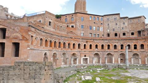 Trajan's market, Roma, Italy. 4K Footage