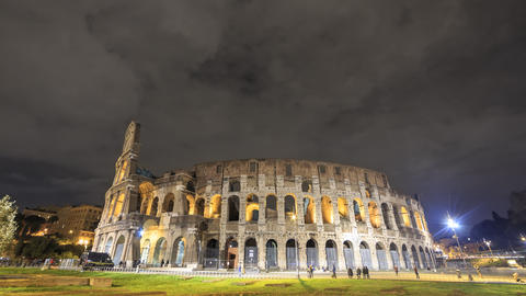 Colosseum at night. Zoom. Rome, Italy. Time Lapse. 4K Footage