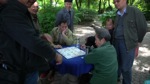 Man Play Table Game In Shanghai stock footage