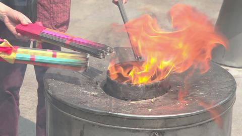 Burning joss sticks Footage