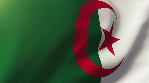 Algeria flag waving in the wind. Looping sun rises style. Animation loop Animation