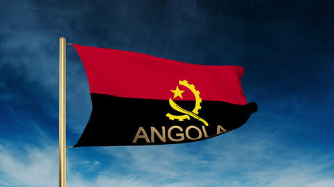 Angola flag slider style with title. Waving in the wind with cloud background an Animation