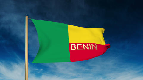 Benin flag slider style with title. Waving in the wind with cloud background ani Footage