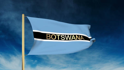 Botswana flag slider style with title. Waving in the wind with cloud background  Footage