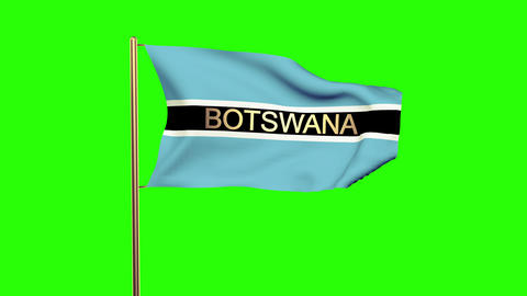 Botswana flag with title waving in the wind. Looping sun rises style. Animation  Animation
