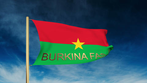Burkina Faso flag slider style with title. Waving in the wind with cloud backgro Animation