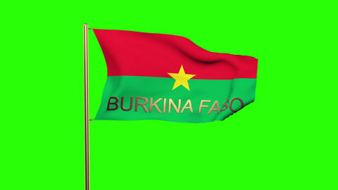 Burkina Faso flag with title waving in the wind. Looping sun rises style. Animat Animation