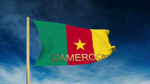 Cameroon flag slider style with title. Waving in the wind with cloud background  Animation