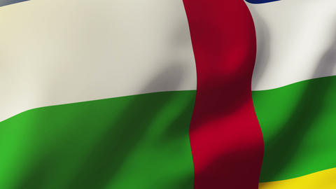 Central African Republic flag waving in the wind. Looping sun rises style. Anima Animation