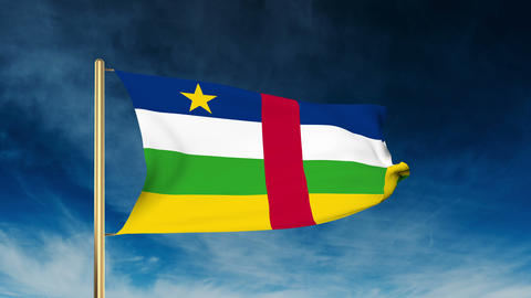 Central African Republic flag slider style. Waving in the wind with cloud backgr Animation