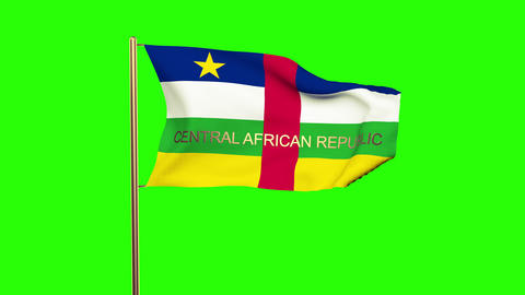 Central African Republic flag with title waving in the wind. Looping sun rises s Animation