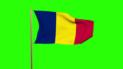 Chad Flag Waving In The Wind. Green Screen, Alpha Matte. Loopable Animation stock footage