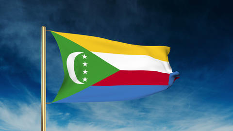 Comoros flag slider style. Waving in the wind with cloud background animation Animation