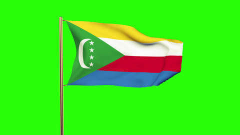 Comoros flag waving in the wind. Green screen, alpha matte. Loopable animation Animation