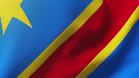 Democratic Republic of the Congo flag waving in the wind. Looping sun rises styl Animation